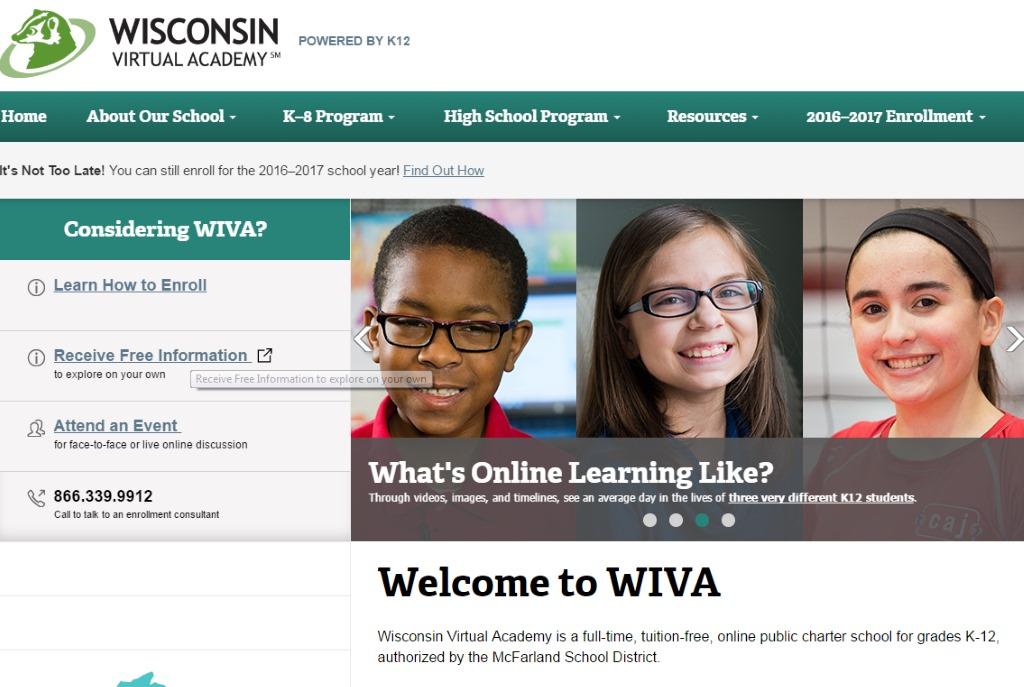 Screenshot of the Wisconsin Virtual Academy website.