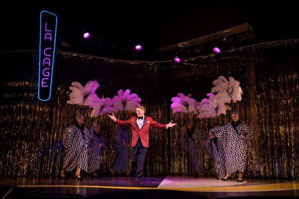 Norman Moses (Georges) with the Cagelles in Skylight Music Theatre's La Cage Aux Folles. Photo by Mark Frohna.