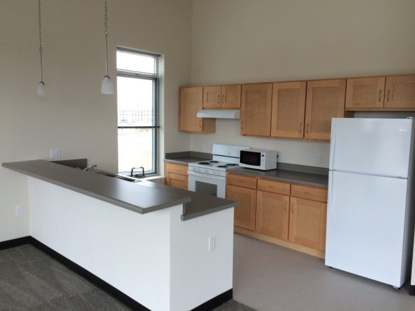 A kitchen in one of the units. Photo by Graham Kilmer.