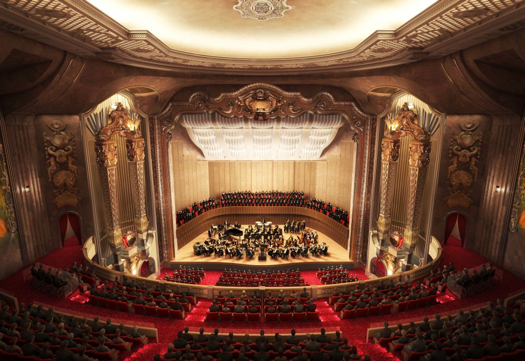 Rendering of renovated Grand Warner Theatre.