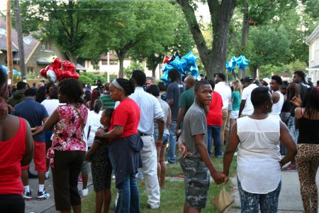 A large crowd of community members gathered at West Auer Avenue on the night following Sylville Smith's shooting by Dominique Heaggan-Brown. Photo by Jabril Faraj.