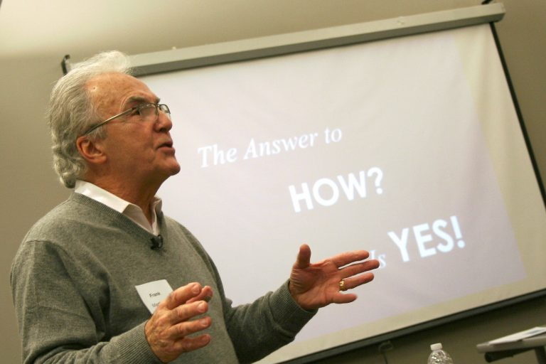 Frank Martinelli speaks to a group of nonprofit employees at the Washington Park Library. Photo by Jabril Faraj.