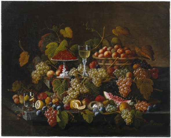 Still Life with Fruit by Severin Roesen (circa 1815-1872) [No restrictions or Public domain], via Wikimedia Commons