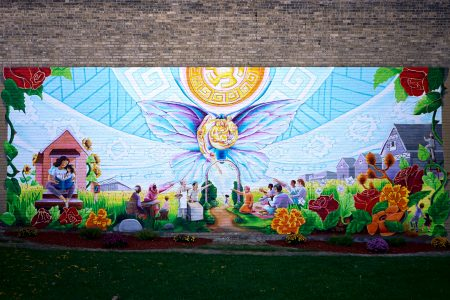 "Richardson collaborated with community members to create ""Beauty Opens the Door to Join Us"" at the newly christened Butterfly Park. Photo by Adam Carr."