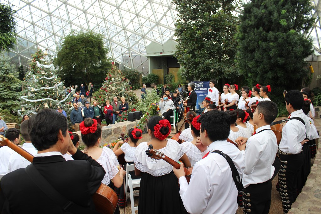 The Latino Arts Strings Program performing at the Domes Grand Reopening, December 1, 2016. Photo courtesy of Milwaukee County Parks.
