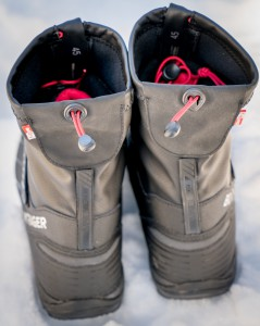 The cinch top boots keep out the snow and draft if you wear them with tights and the little straps above the heels fit optional Bontrager Ember lights.