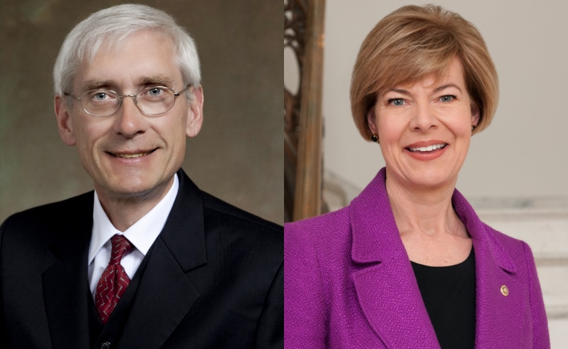 Tony Evers and Tammy Baldwin.