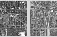 A view of the neighborhood from before the highway was built and after.