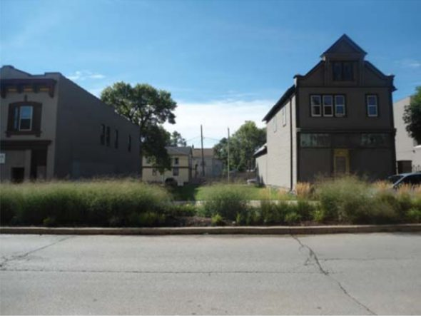 Looking South - Vacant Lots & Building [r] to be Relocated East.