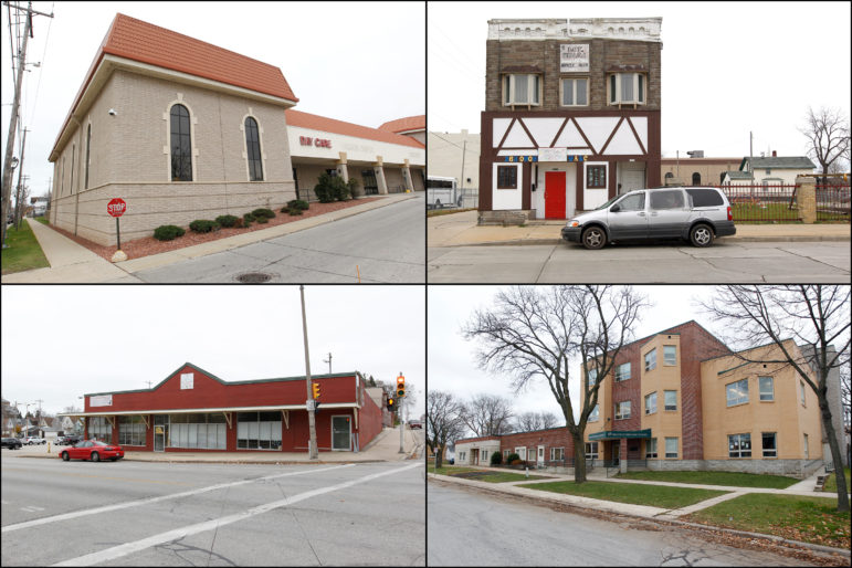 A selection of the nearly 400 day care centers and private schools in the Milwaukee area with lead service lines targeted for replacement. Clockwise from left: Open Hands Child Development Center, 1818 W. National Ave.; Young Achiever Learning Center, 1218 W. Walnut St.; Yeshiva Elementary, 5115 W. Keefe Ave.; and 3027 W. Greenfield Ave., which houses multiple day care and early learning programs. Photos by Pat A. Robinson of the Milwaukee Journal Sentinel courtesy of the Wisconsin Center for Investigative Journalism.