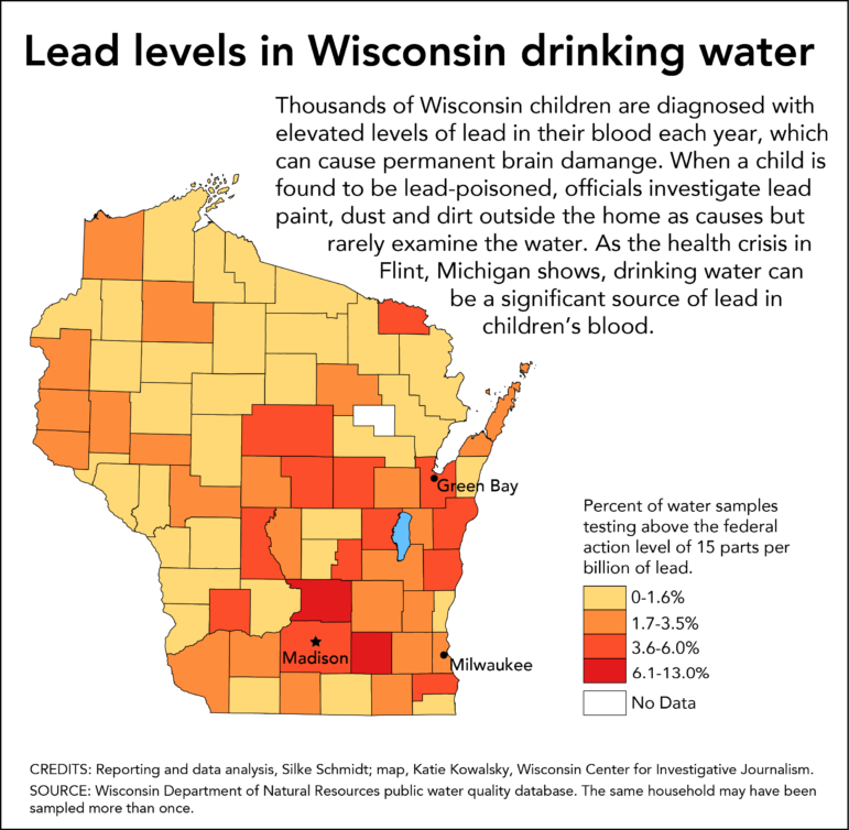 Lead levels in Wisconsin drinking water.