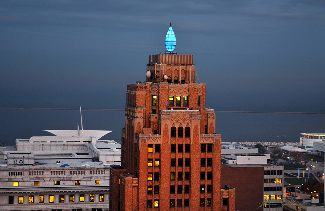 Wisconsin Gas Light Building, seen from atop the Pfister. Photo by Brian Jacobson.