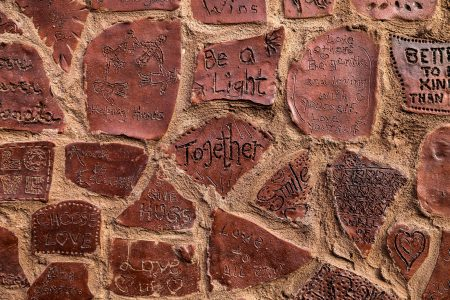"The word courage comes from the Latin word ""cor,"" which means heart. Gramling said this one word is the centerpiece of the Walls of Strength project. Photo by Allison Steines."