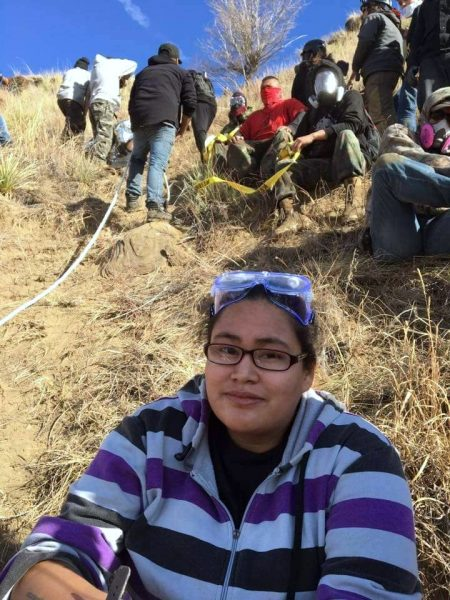 Audri Casarez, shown here protesting on Turtle Island in North Dakota. Photo courtesy of Audri Casarez.