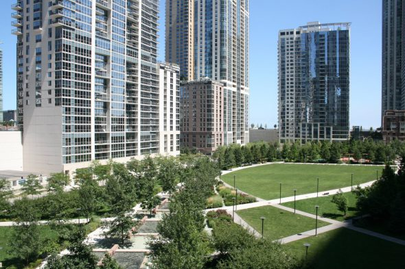 Lake Shore East Park in Chicago. Photo by Jeramey Jannene.
