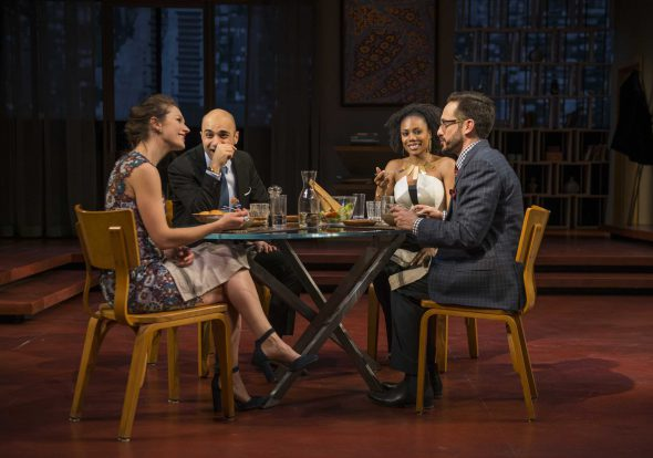 "Milwaukee Repertory Theater presents "" Disgraced"" in the Quadracci Powerhouse Jan 17 – February 12, 2017. Featuring Janie Brookshire, Maboud Ebrahimzadeh, Austene Van and Jason Babinsky. Photo by Michael Brosilow."
