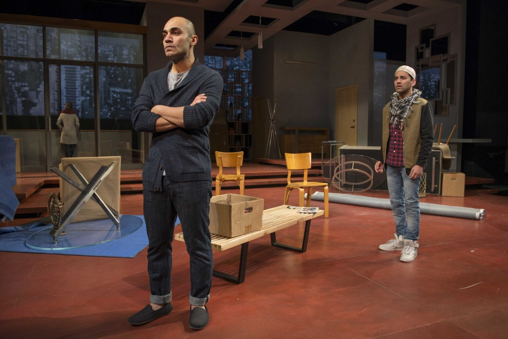 "Milwaukee Repertory Theater presents "" Disgraced"" in the Quadracci Powerhouse Jan 17 – February 12, 2017. Featuring Maboud Ebrahimzadeh and Imran Sheikh. Photo by Michael Brosilow."