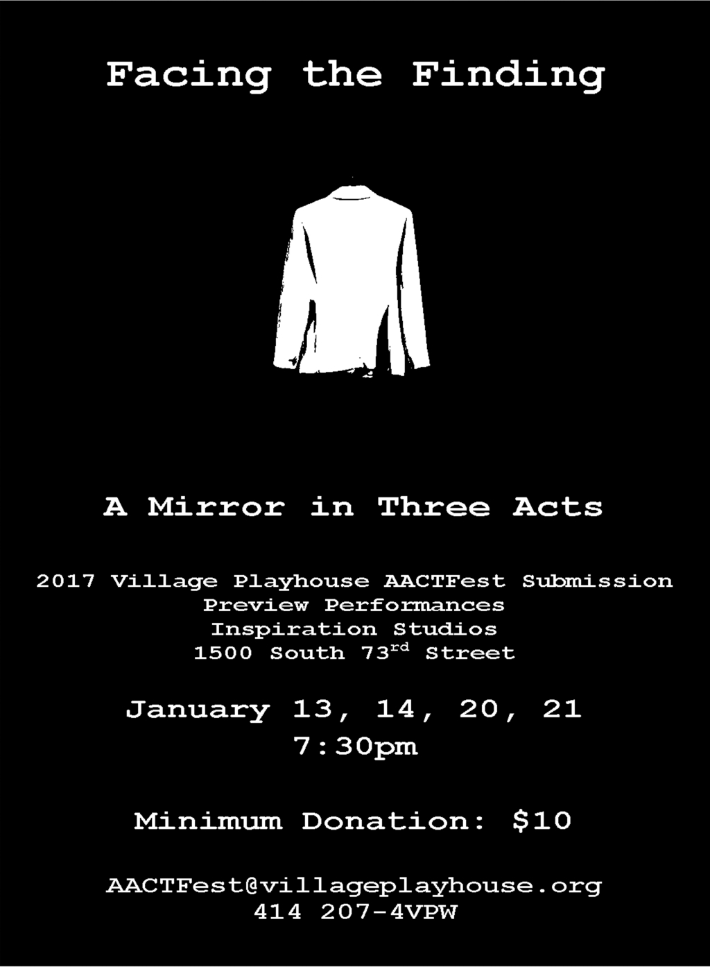 "Competition Play ""Facing the Finding: A Mirror in Three Acts"" to be Previewed at Inspiration Studios"