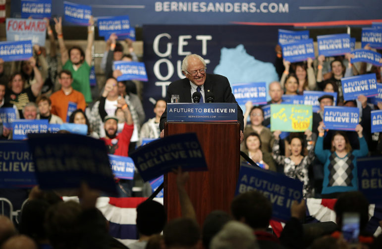 Democratic presidential candidate Bernie Sanders speaks during a campaign rally at the KI Convention Center in downtown Green Bay on April 4. Photo by Evan Siegle of the USA TODAY NETWORK-WI.