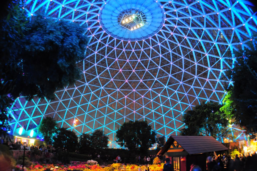 Light show at The Domes. Photo courtesy of Milwaukee County Parks.