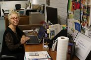 Terry Murphy, Executive Director of the Milwaukee-based non-profit 'Artworks for Milwaukee' sits at her desk in the organization's office in the Third Ward this Monday. Photo courtesy of NNS.
