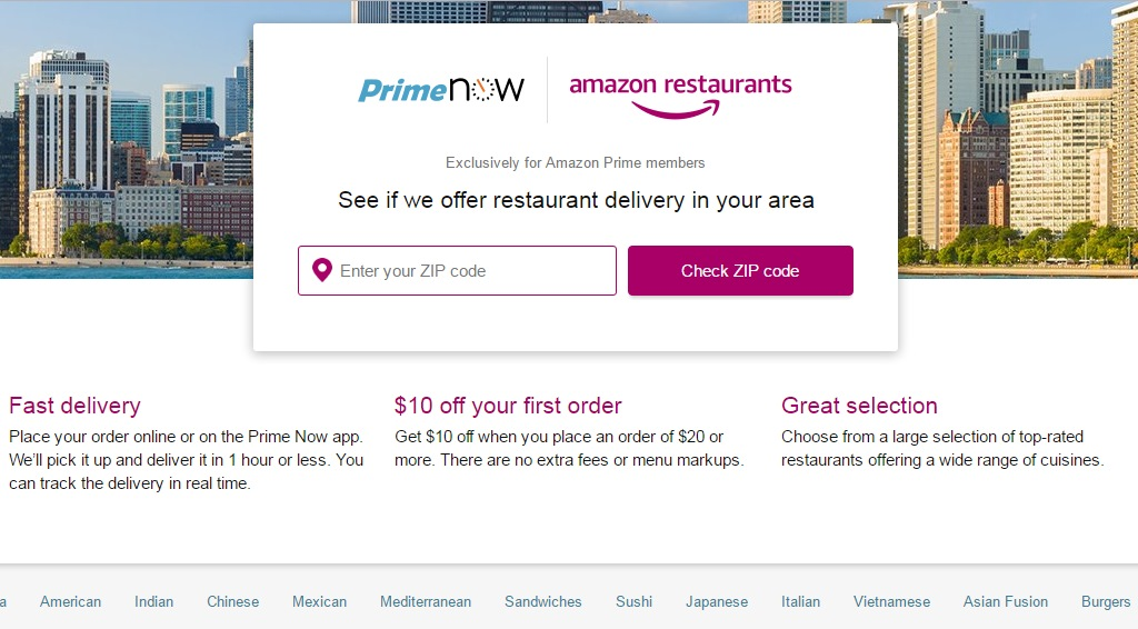 Amazon Restaurants.