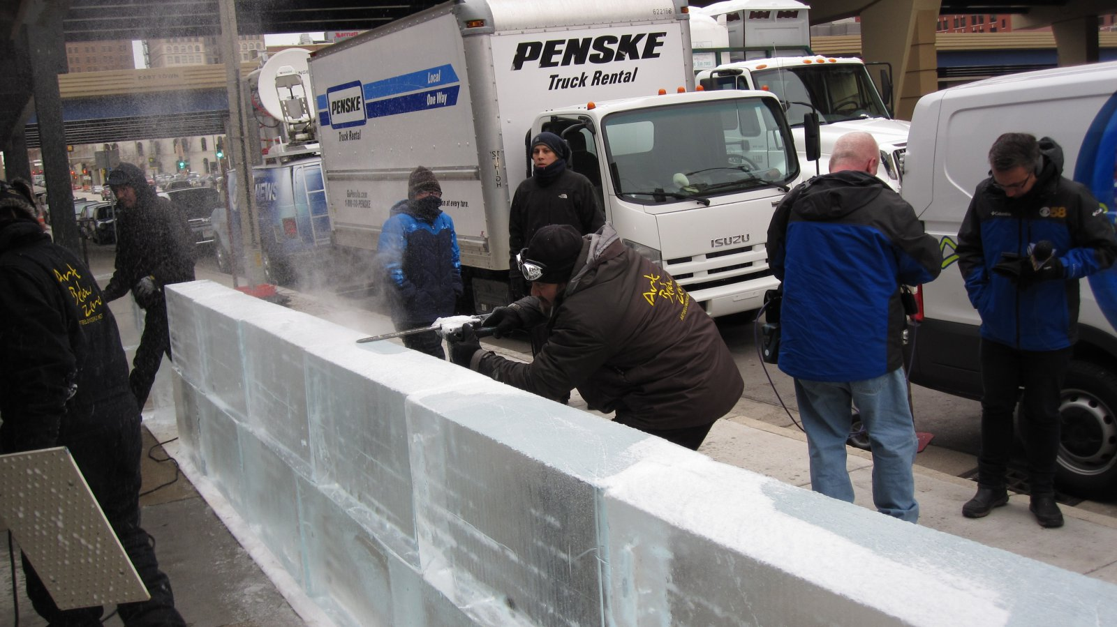 Building the ice bar at St. Paul Fish Company in 2017. Photo by Michael Horne.