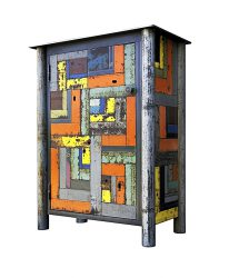 """Jim Rose: ONE DOOR HOUSETOP CUPBOARD, Hot Roll HOUSE No. 16, Hot Roll and Found Painted Steel, 11 ½ x 5 x 8 ½"""" and Found Steel Painted Steel, 36 x 30 x 17"""". Photo courtesy of the Tory Folliard Gallery."""