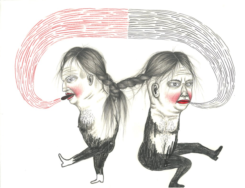 """TWINS, Graphite and Colored Pencil on Paper, 9 x 12"""""""