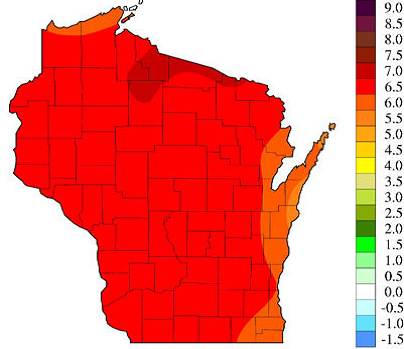 Climate change will make Wisconsin hotter and more prone to natural disasters. Source: Wisconsin Initiative on Climate Change Impacts, 2011