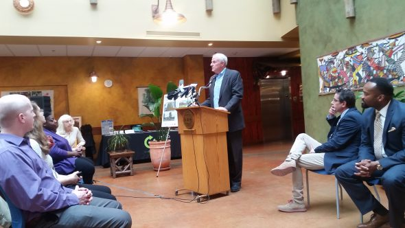 Mayor Barrett unveils plans for a new park. Photo by Photo by Brandon Anderegg.