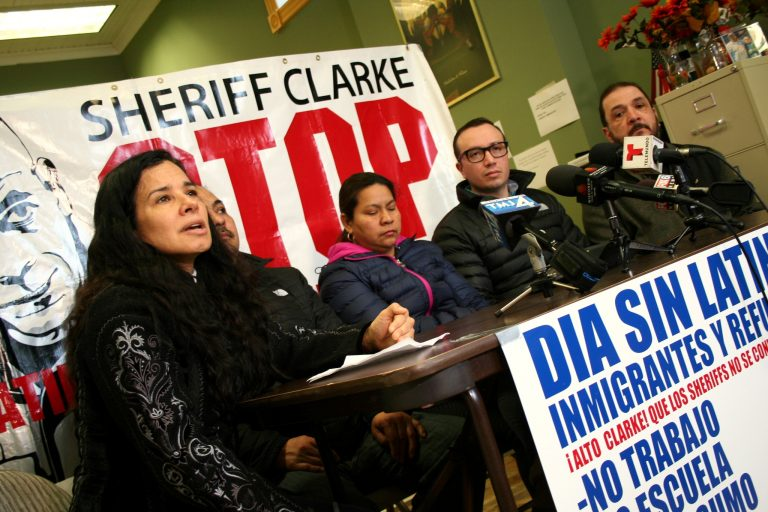 Christine Neumann-Ortiz (left) speaks during a press conference at Voces de la Frontera as (from left) Salvador Rojas, Rafaela Flores, Guillermo Ramos and Rafael Sanchez look on. Photo by Jabril Faraj.