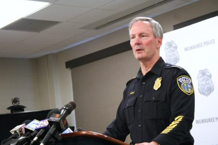 MPD Chief Ed Flynn speaks to reporters Thursday at Police Headquarters downtown. Photo by Jabril Faraj.