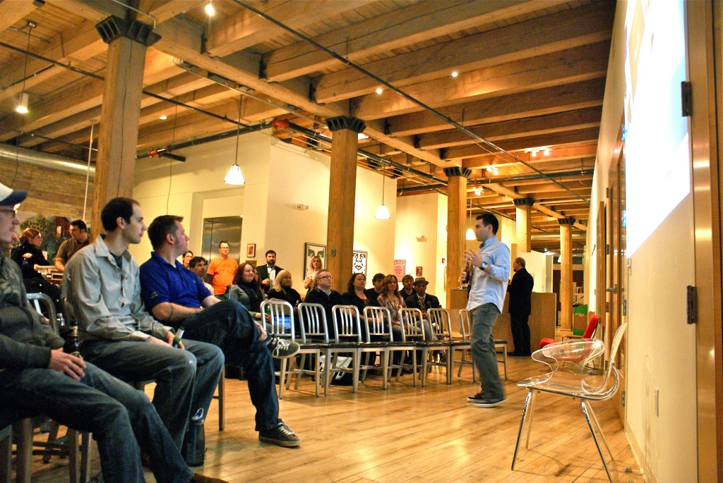 Steve Glynn speaks during a Spreenkler Meetup.
