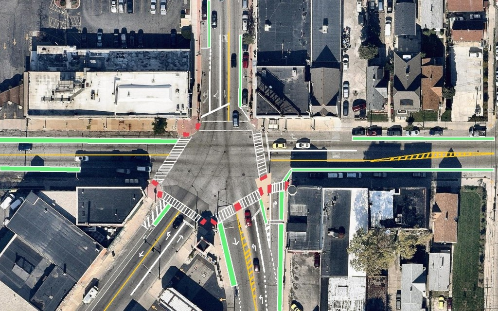 Intersection of Cesar Chavez Dr. (S. 16th St.), W. Greenfield Ave. and S. Muskego Ave.