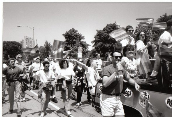 One of the first Milwaukee Pride Parades. Photo by Michail Takach.