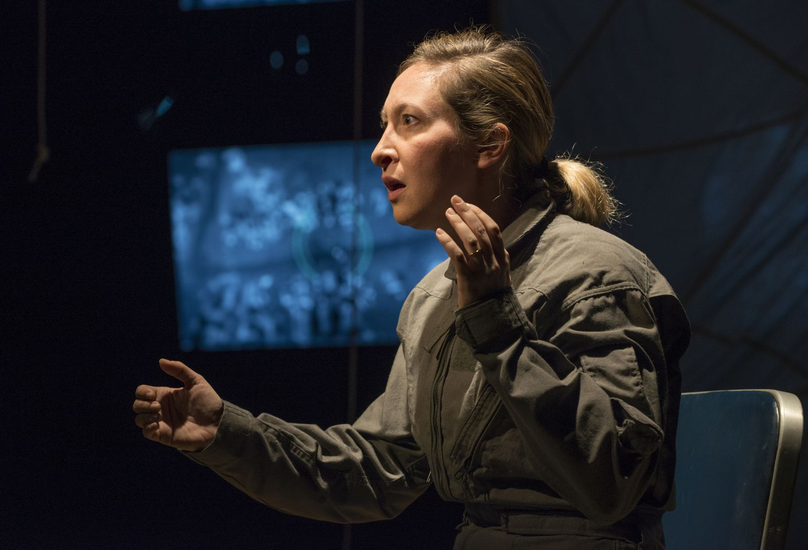 """Milwaukee Repertory Theater presents """"Grounded"""" in the Stiemke Studio Feb 22 – April 2, 2017. Featuring Jessie Fisher as The Pilot. Photo by Michael Brosilow."""