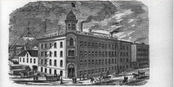 Meinecke building at Front and Mason. Photo from Industrial History of Milwaukee, the Commercial, Manufacturing and Railway Metropolis of the North-west: Its Great Natural Resources and Advantageous Location as a Shipping Point, with a Review of Its General Business Interests, Including History of Milwaukee Chamber of Commerce, Statistical and Descriptive, to which is Added a Series of Sketches of the Prominent Places and People of the Cream City, the Rise and Progress of Firms, Institutions, and Corporations. Elmer Epenetus Barton, E.E. Barton, 1886. Photo is in the Public Domain.
