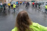 Amelia Kegel addresses the crowd before their ride to Paris sets off on a misty 38 degree morning last spring.