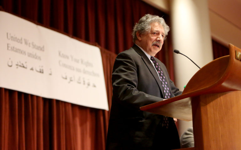 Madison, Wis., Mayor Paul Soglin addresses about 2,000 people at a community immigration forum Jan. 29, 2017. Soglin has vowed that city police officers will not become immigration police for the federal government but will honor detainer requests for undocumented residents who have committed serious crimes. Photo by Michelle Stocker of The Cap Times.