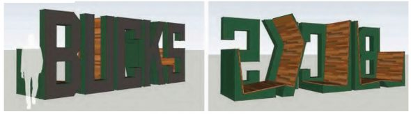 The Milwaukee Bucks sign and chair.