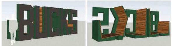 The Milwaukee Bucks sign and chair.
