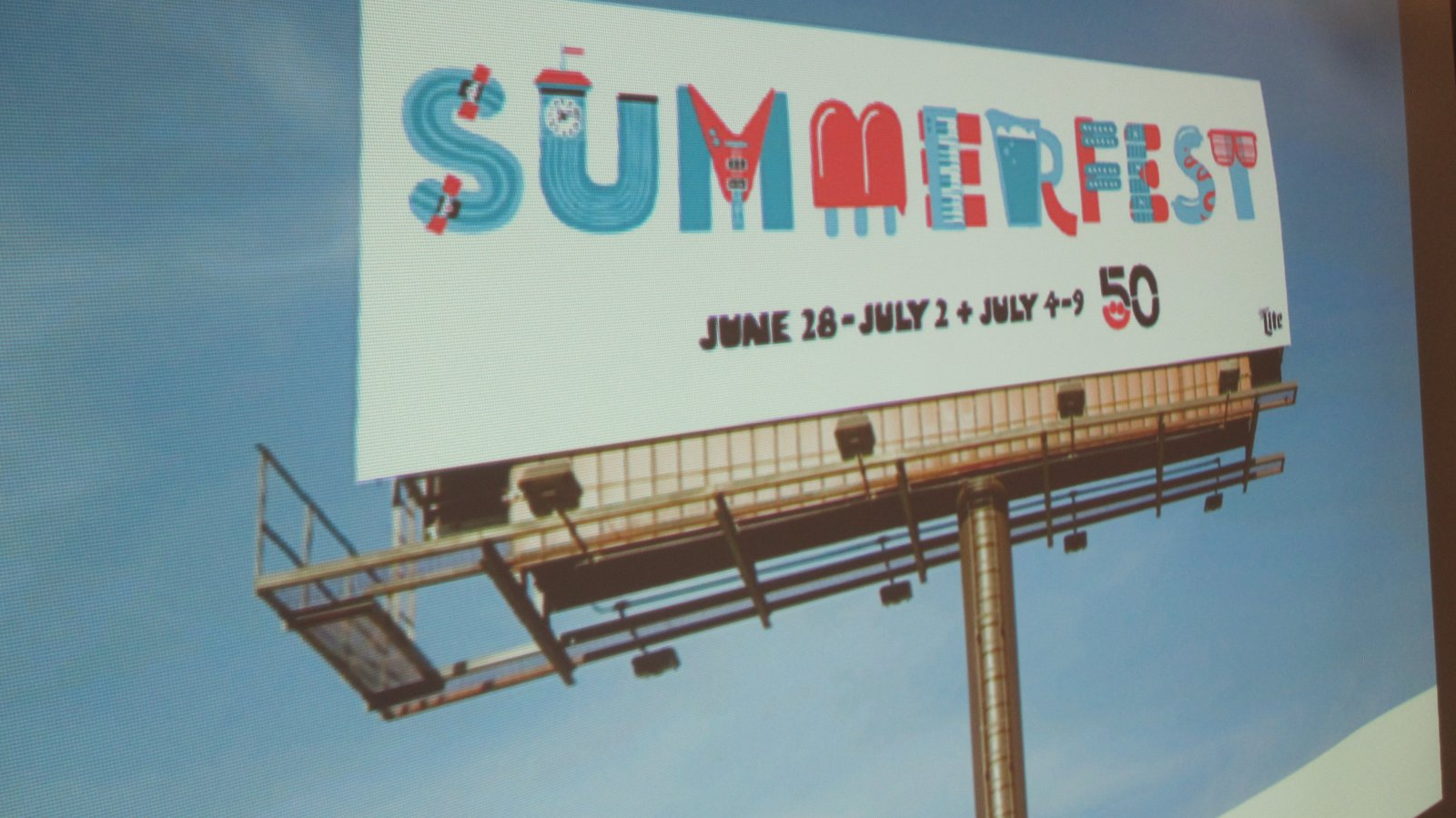 Summerfest 50th Anniversary logo design. Photo by Michael Horne.