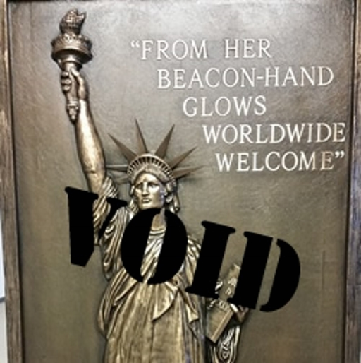 """From her beacon-hand glows worldwide welcome."" VOID."