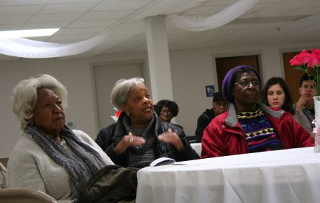 Ruby Snowden (center) speaks during the town hall event. Photo by Jabril Faraj.
