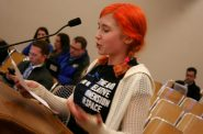 Ava Gessner, a student at Golda Meir, speaks against the uniform policy during a recent board meeting. Photo by Jabril Faraj.