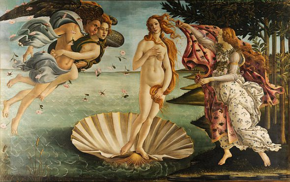 Sandro Botticelli - Birth of Venus. Photo is in the Public Domain.