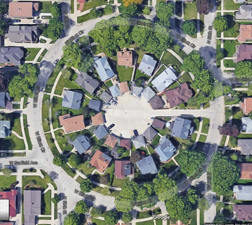 Bird's-eye view of Elliott Circle.