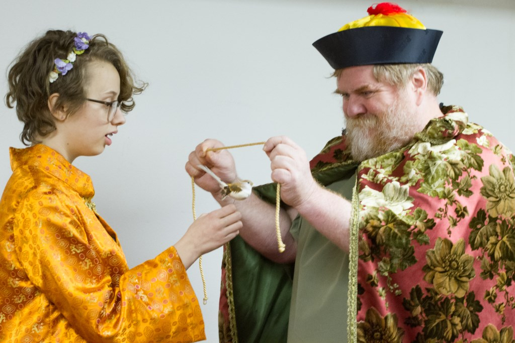 Emperor (Paul Pfannenstiel) and Nightingale (Mary Kostopoulos). Photo courtesy of Village Playhouse.