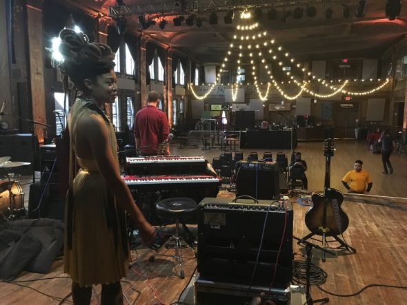 June giving a tour of the stage and her instruments. Photo by Gabrielle Barriere.